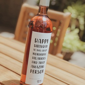 Botella de Vino Rosado - Happy Bithday to this...