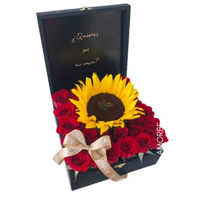 C.116 ,BOX LOVE MESSAGE,24 ROSAS ROJAS+GIRASOL