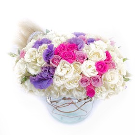 C.063 ,100 ROSAS PASTEL MIX+ LISIANTHUS,BIRTHDAY