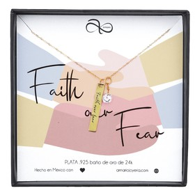 1010553 Collar Plaquita FAITH OVER FEAR Oro