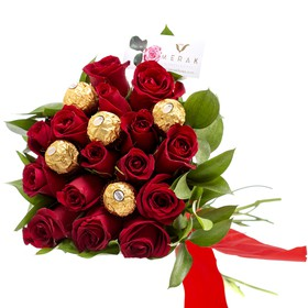 Bouquet de rosas y chocolates